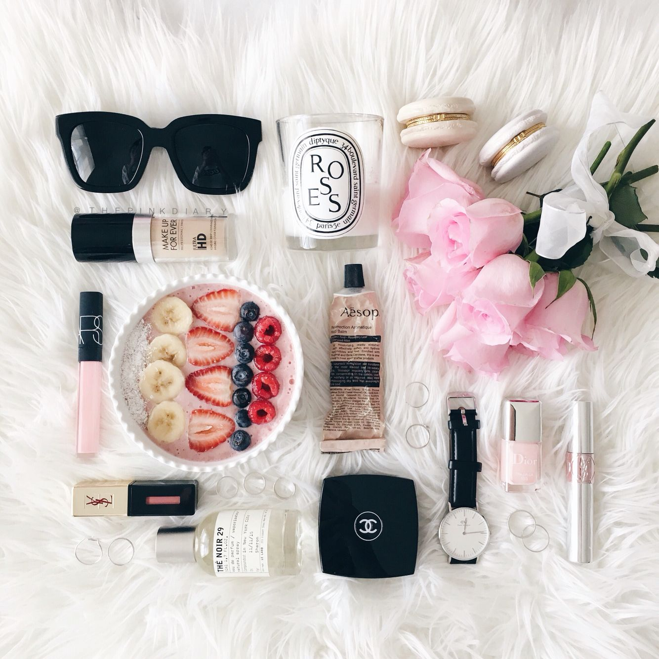 Aasop always pink   flatlay styling, flat lay photography, just