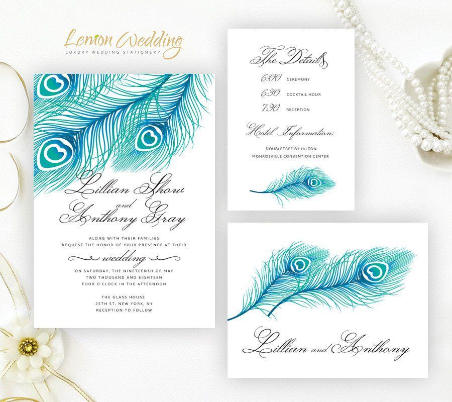 Blue Peacock Wedding Invitation Kits Printed On Shimmer Cardstock