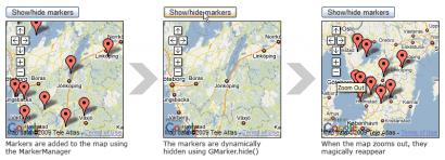 Správa placemarks v Google maps