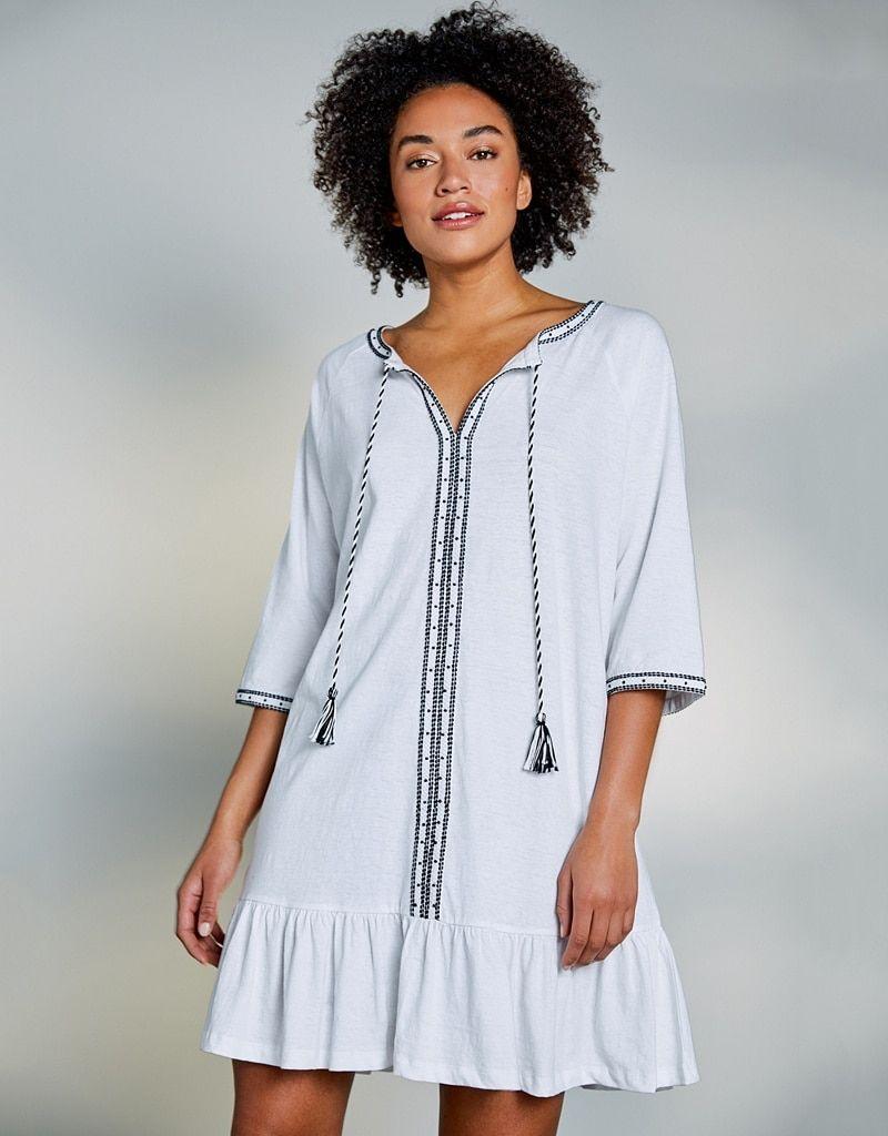 b24cc713eebd4 Cotton-Linen Beaded Cover Up Dress | Dresses & Tunics | The White Company UK