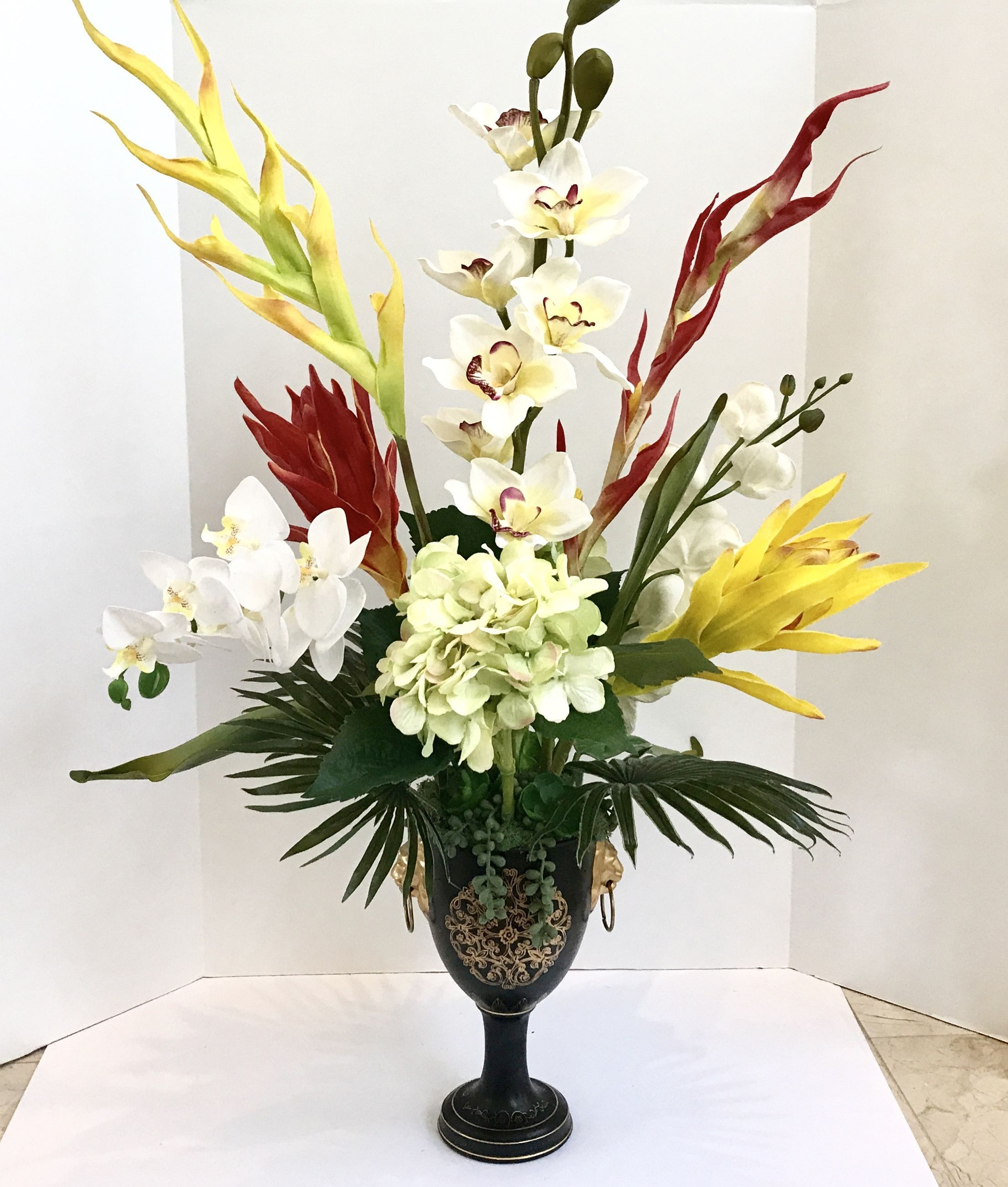 Asian Tropical Silk Purple White And Green Orchids Floral