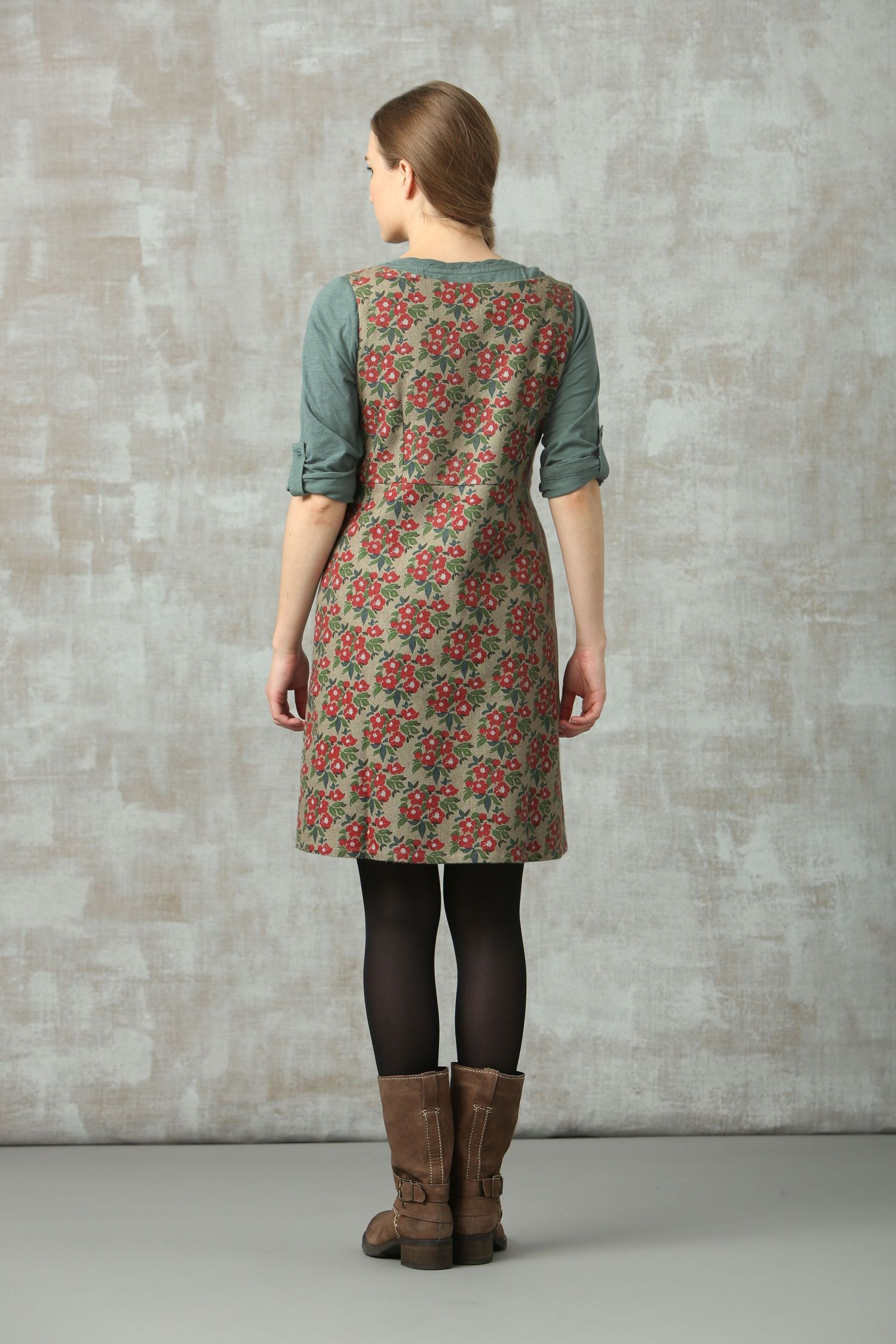 Shift dress + tights + mid-calf boots | Outfit u0026 Style ...