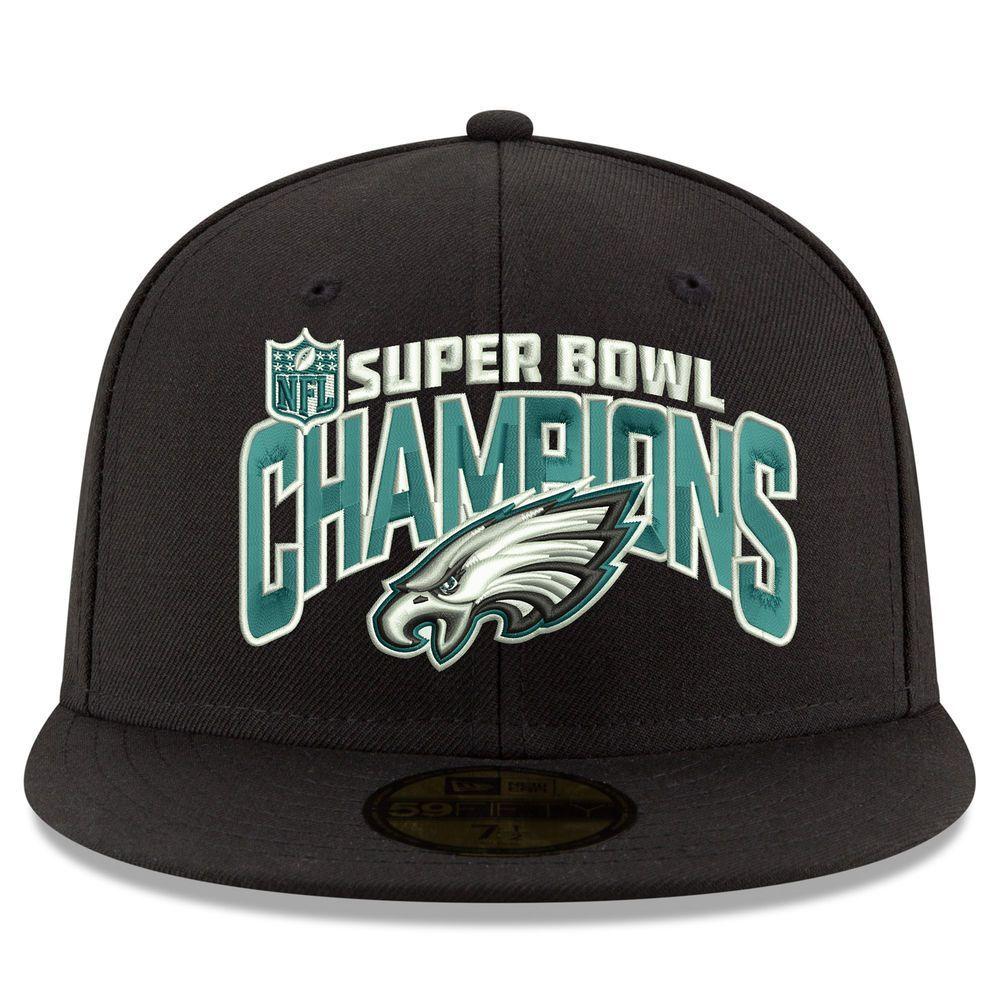 Men s New Era Black Philadelphia Eagles Super Bowl LII Champions 59FIFTY  Fitted Hat  ThingstoWear e9cb1f2a8