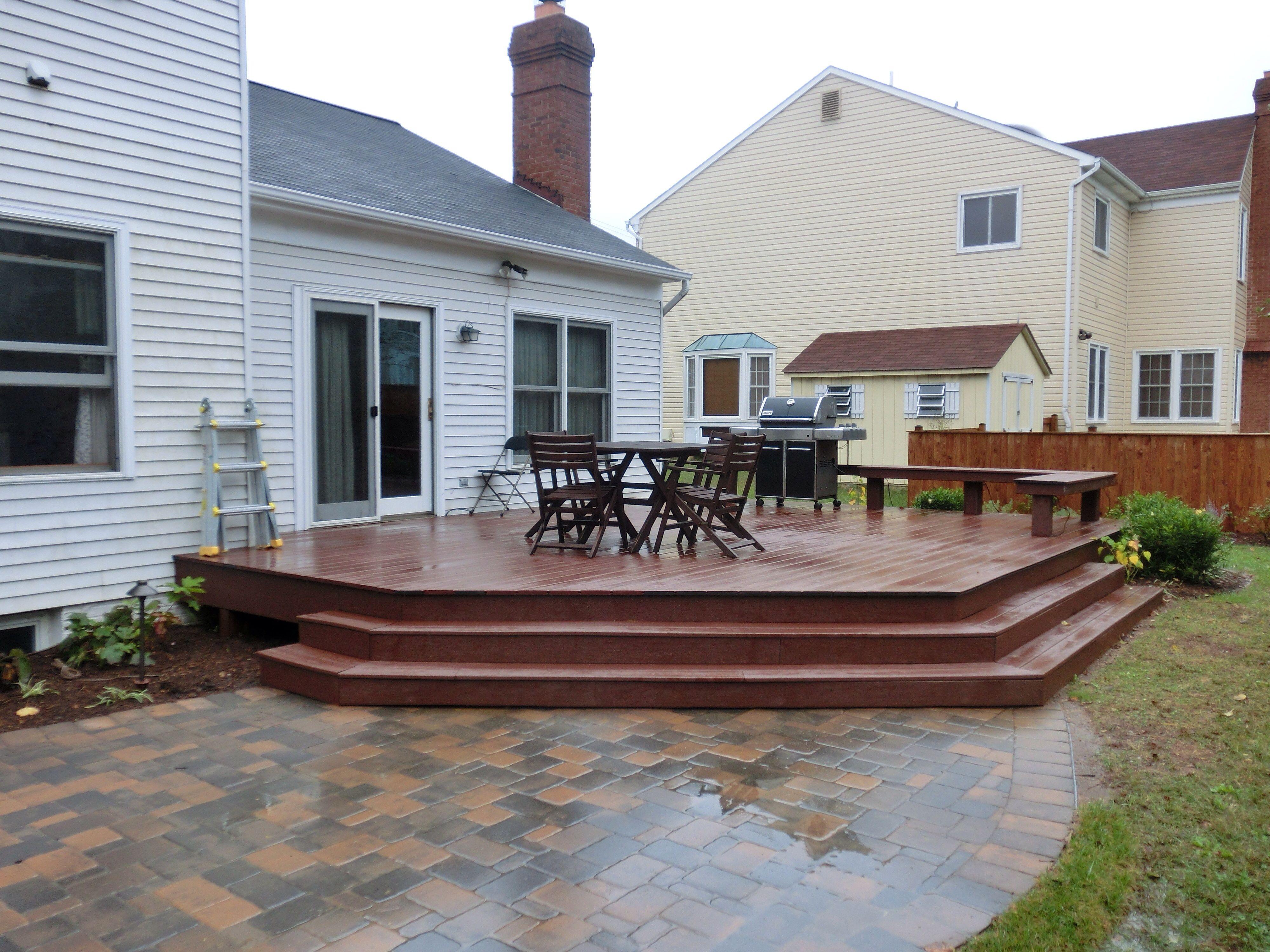Composite Deck With Paver Patio Deck Designs Backyard Patio