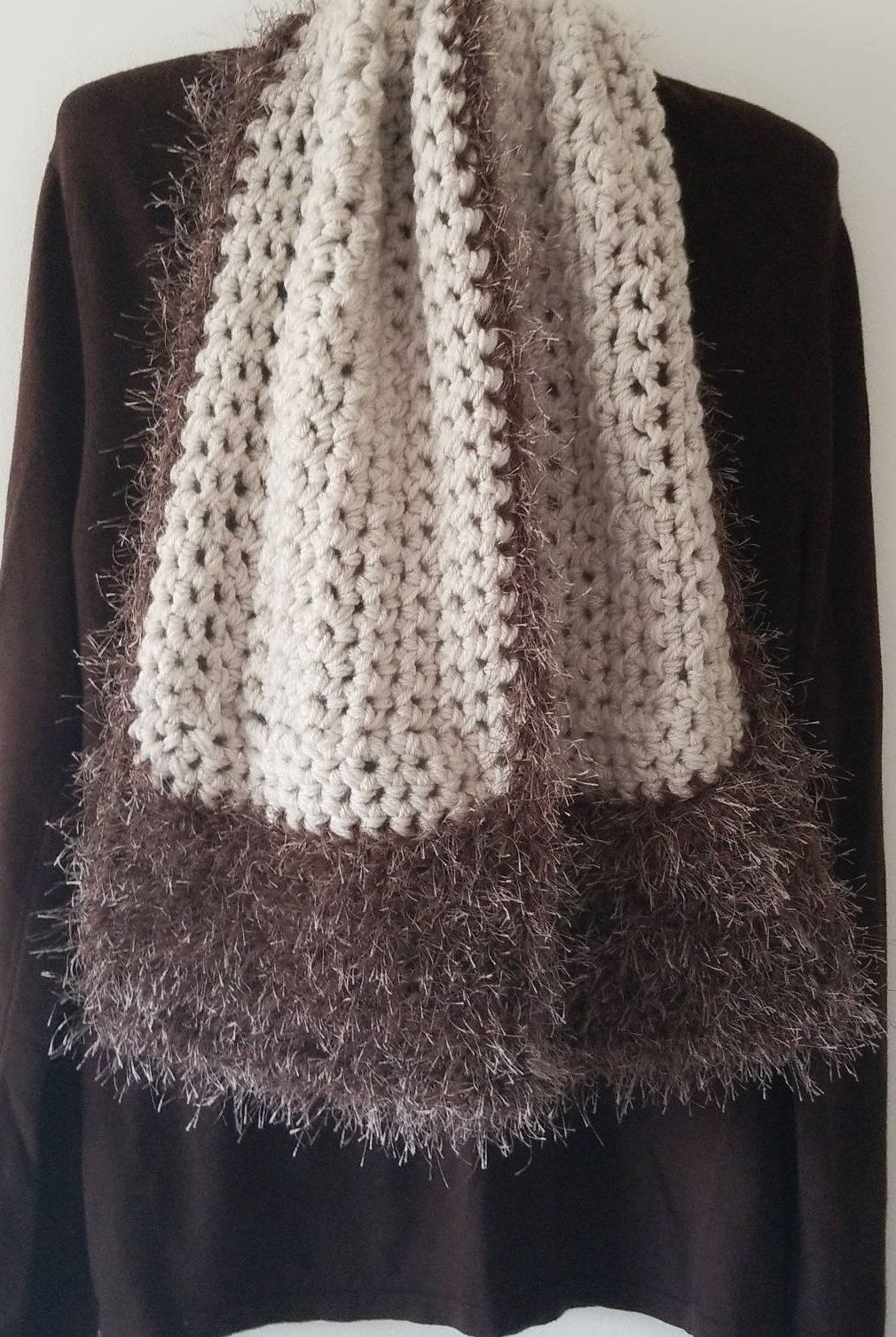 8c5831a9531 Beautiful Fashionable Fall Scarf Shaw Fuzzy Faux Fur Brown Cream Beige  Trendy Feathery Soft Crochet Handmade