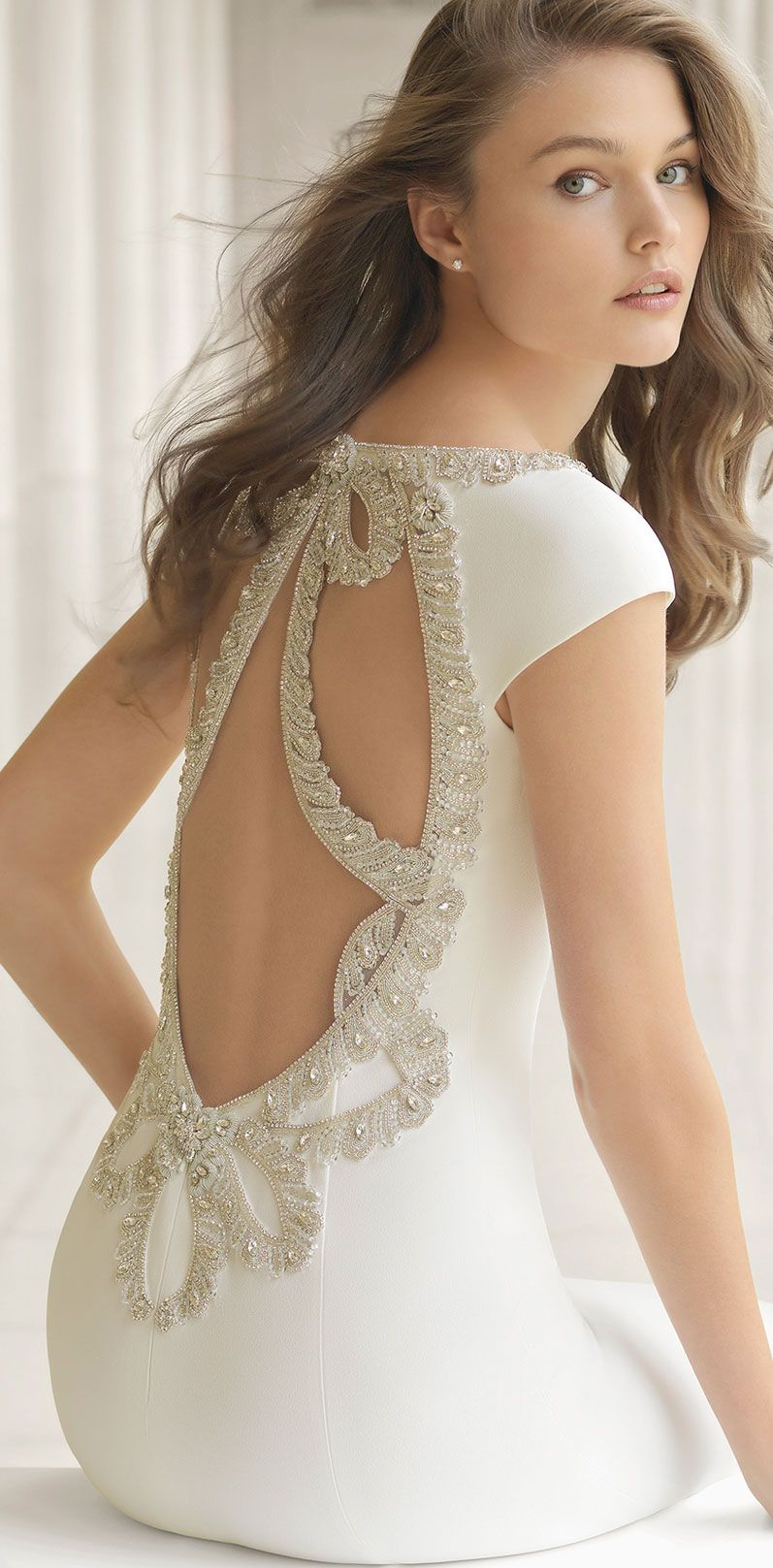 85 Stunning wedding dresses with amazing details, short sleeve wedding dress with amazing back details,heavy embellishment wedding dress #weddingdress #weddinggown