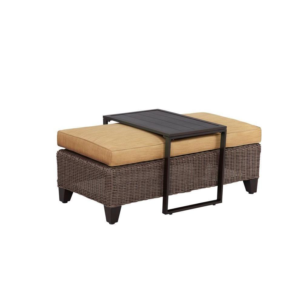 Brown jordan vineyard patio ottoman coffee table with toffee cushion custom m11097 oc 5 the home depot