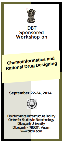 DBT Sponsored Workshop on Chemoinformatics and Rational Drug Designing 2014 Event Date: Repeats every day until Wed Sep 24 2014 . Mon, 2014-09-22 Tue, 2014-09-23 Wed, 2014-09-24 College / Institute: - Indcareer