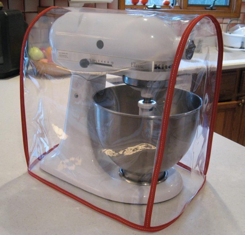 clear mixer cover fits kitchenaid tilt-head – red trim (4.5-5 qt