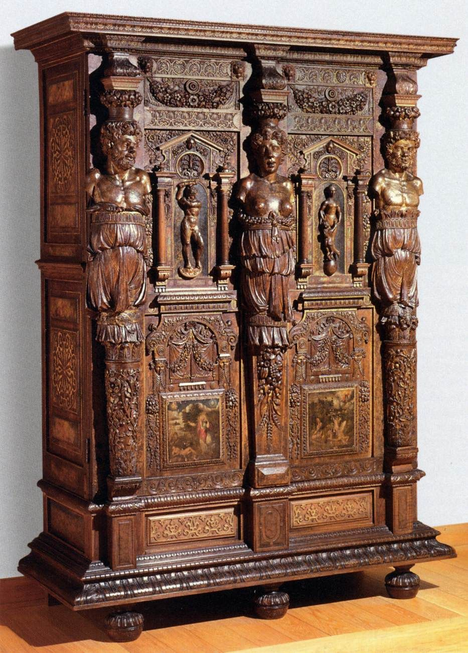 UNKNOWN CABINETMAKER, French Armoir 1580 Walnut and oak, partly gilt and painted, 206 x 150 x 60 cm Musée du Louvre, Paris
