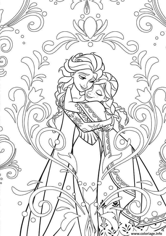 Coloriage Mandala Disney Frozen Elsa Anna Princess Dessin à