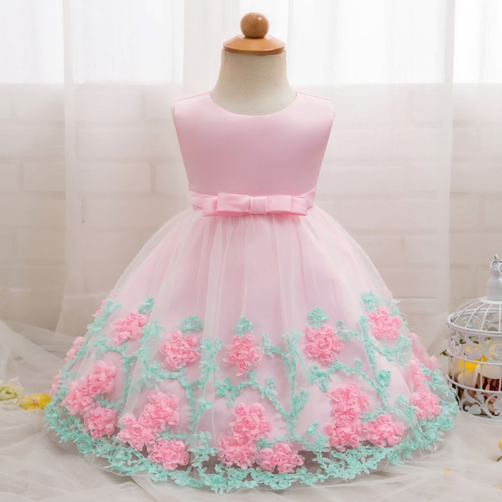 Infant Kid Baby Girl Party Princess Floral Long Sleeve Pageant Dress Set 6 M-4 T