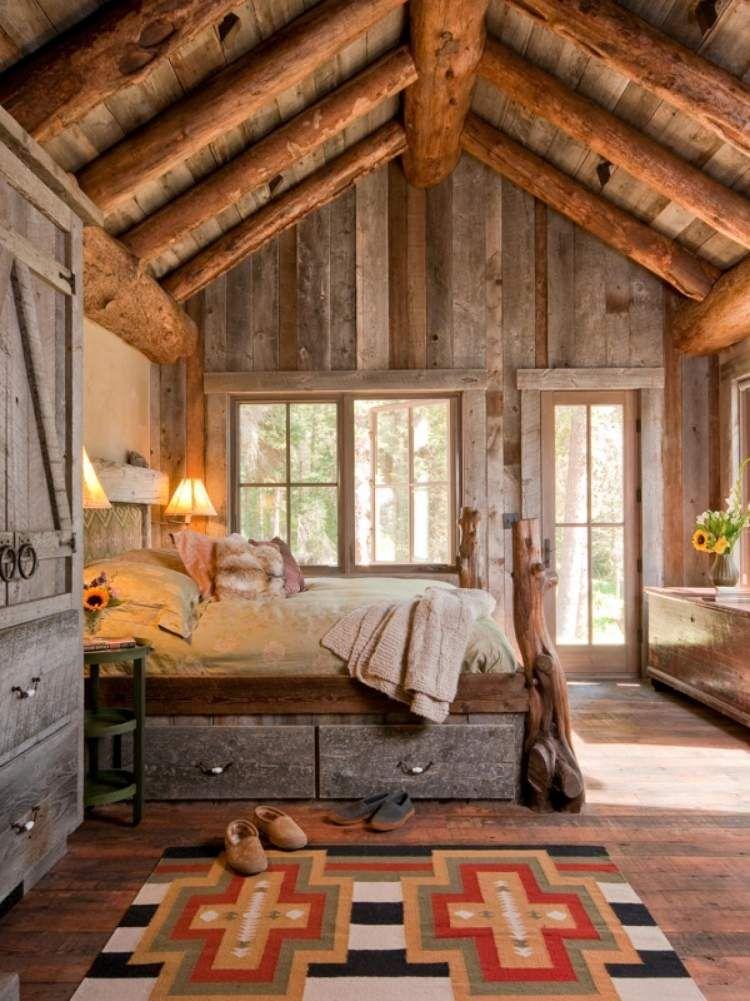 26 idées déco chambre à coucher de style rustique | Lit en bois ...