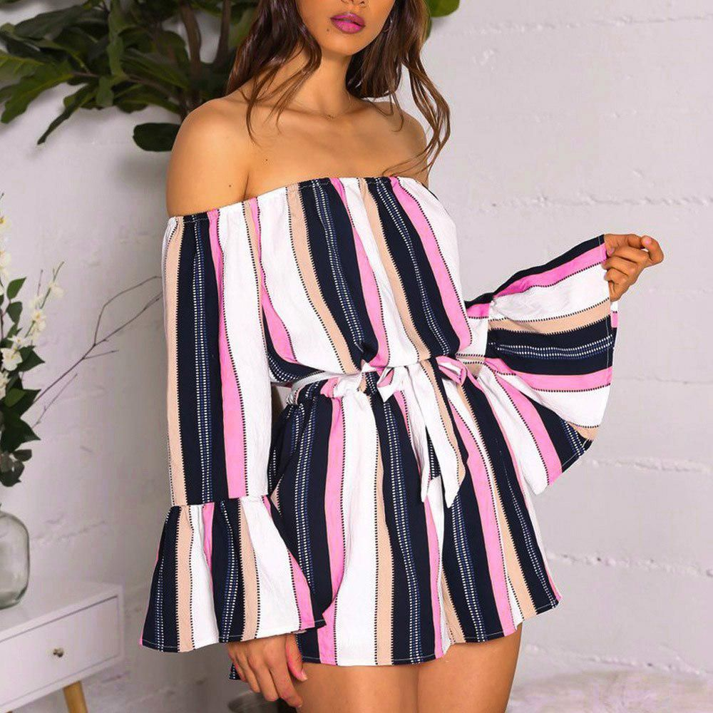 18b970b61df 2018 ISHOWTIENDA women s new style playsuits long Butterfly Sleeve off  shoulder backless striped short jumpsuits casual