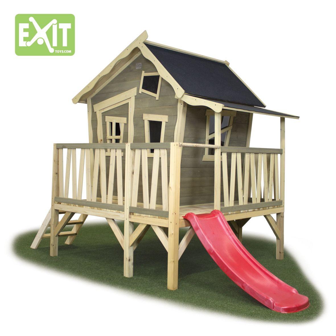 Elegant Kinder Spielhaus EXIT Crooky Holzhaus Stelzenhaus mit gro er Veranda Sehr liebevoll gestaltetes