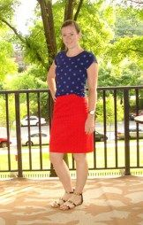 red eyelet skirt | Two Take on Style