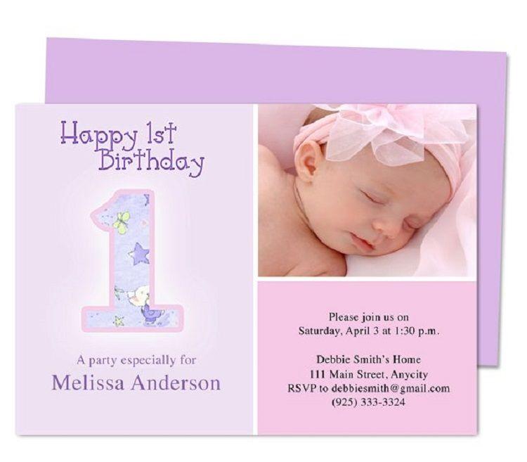 First Birthday Invitation Templates Word Party Ideas Pinterest