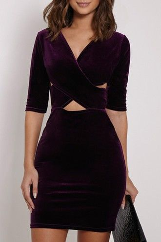fadd687024a3 dress velvet sexy cut out v neck short sleeve bodycon dress short dress  long sleeves fall outfits purple warm cut offs trendy criss cross