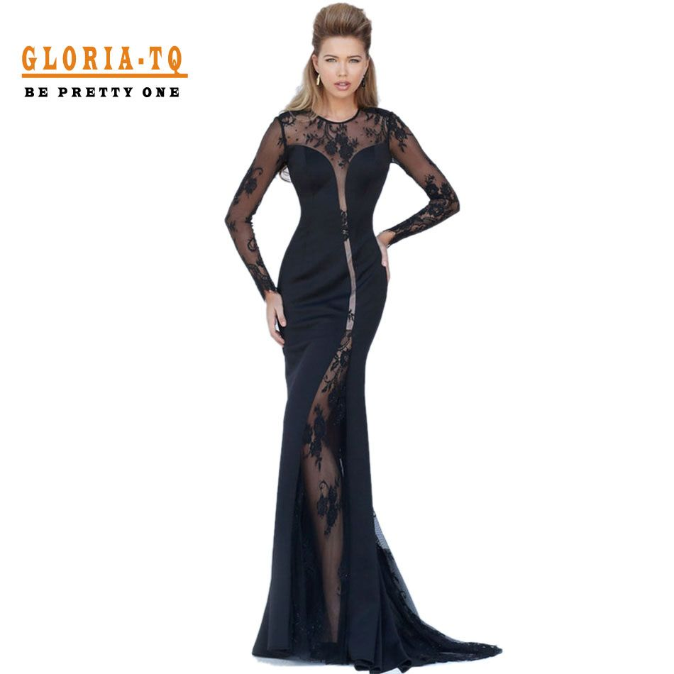 gown long sleeves black back appliques elegant lace long