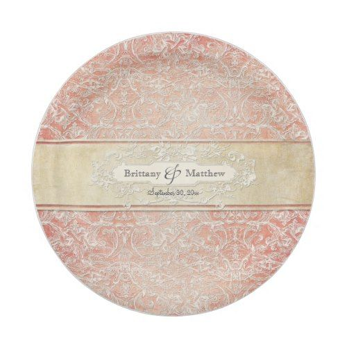 Regency Wedding Invitations: Vintage French Regency Lace Wedding Decor Paper Plate