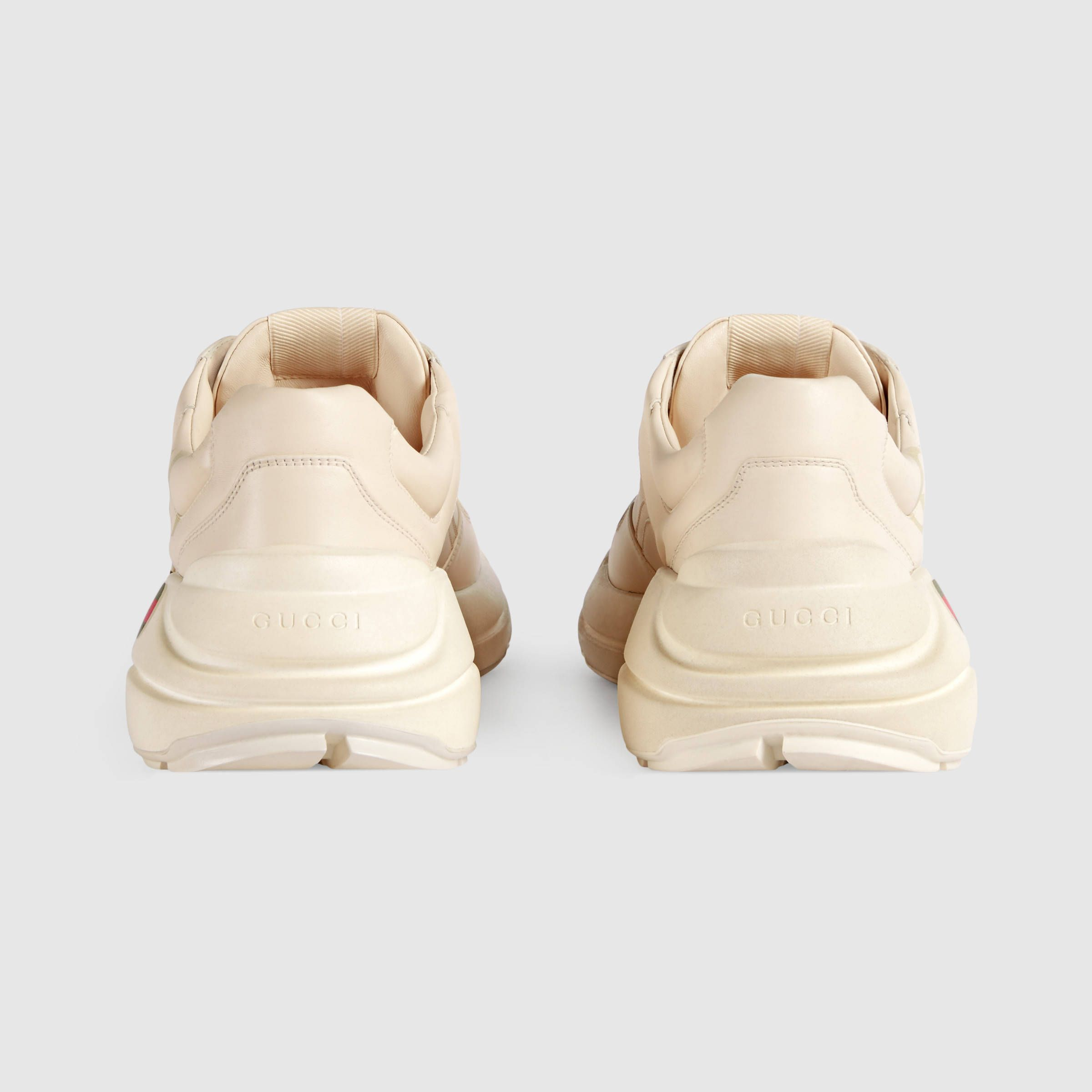 553a88aeb3b9  820.00 GUCCI - Gucci Rhyton Gucci logo leather sneaker - SOLD by GUCCI -  affiliate - Designed with a thick sole and bulky construction The sneaker  has a ...