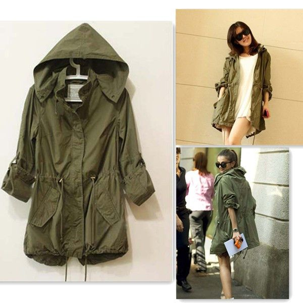 Womens Lady Hoodie Drawstring Military Trench Jacket Coat Parka ...