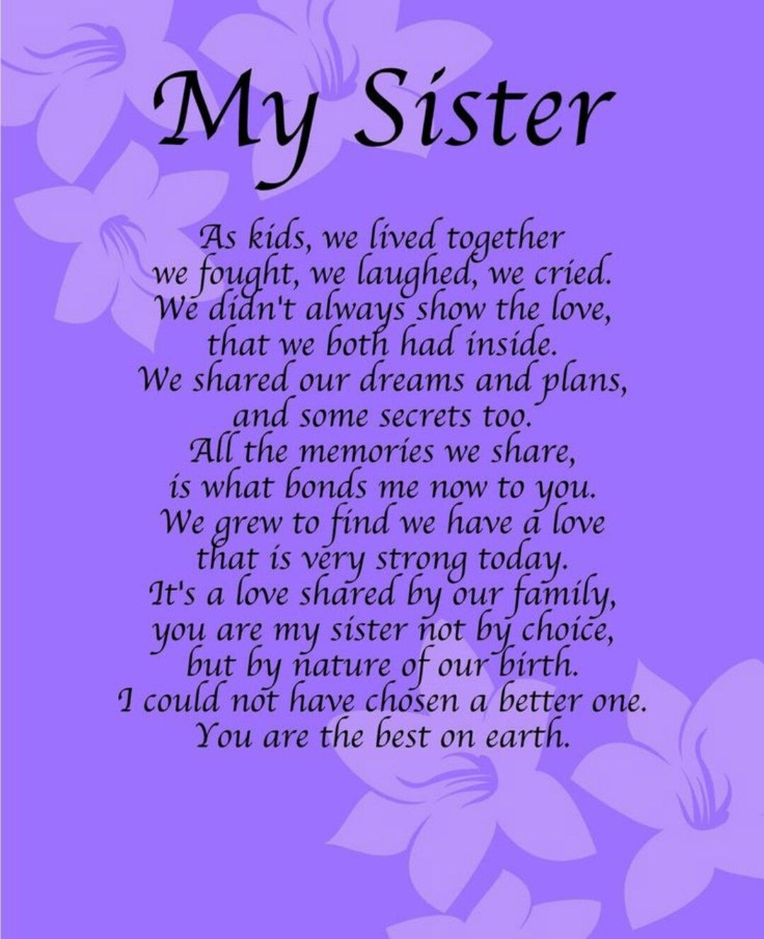 I Love My Sister Quotes Sister Poems  Sister Poem Pictures Images And Photos  Family