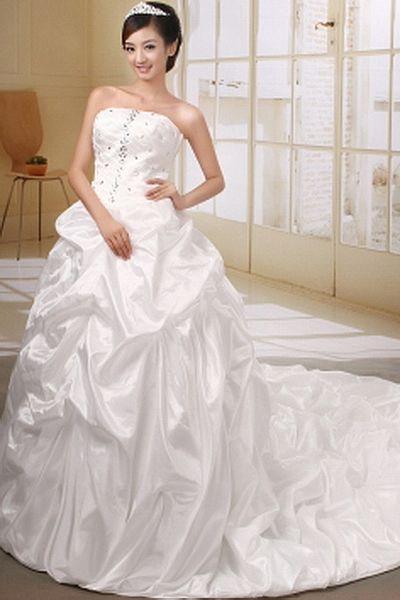 Taft Weiß Ballkleid Brautkleid kv0423 - Silhouette: Ballkleid ...