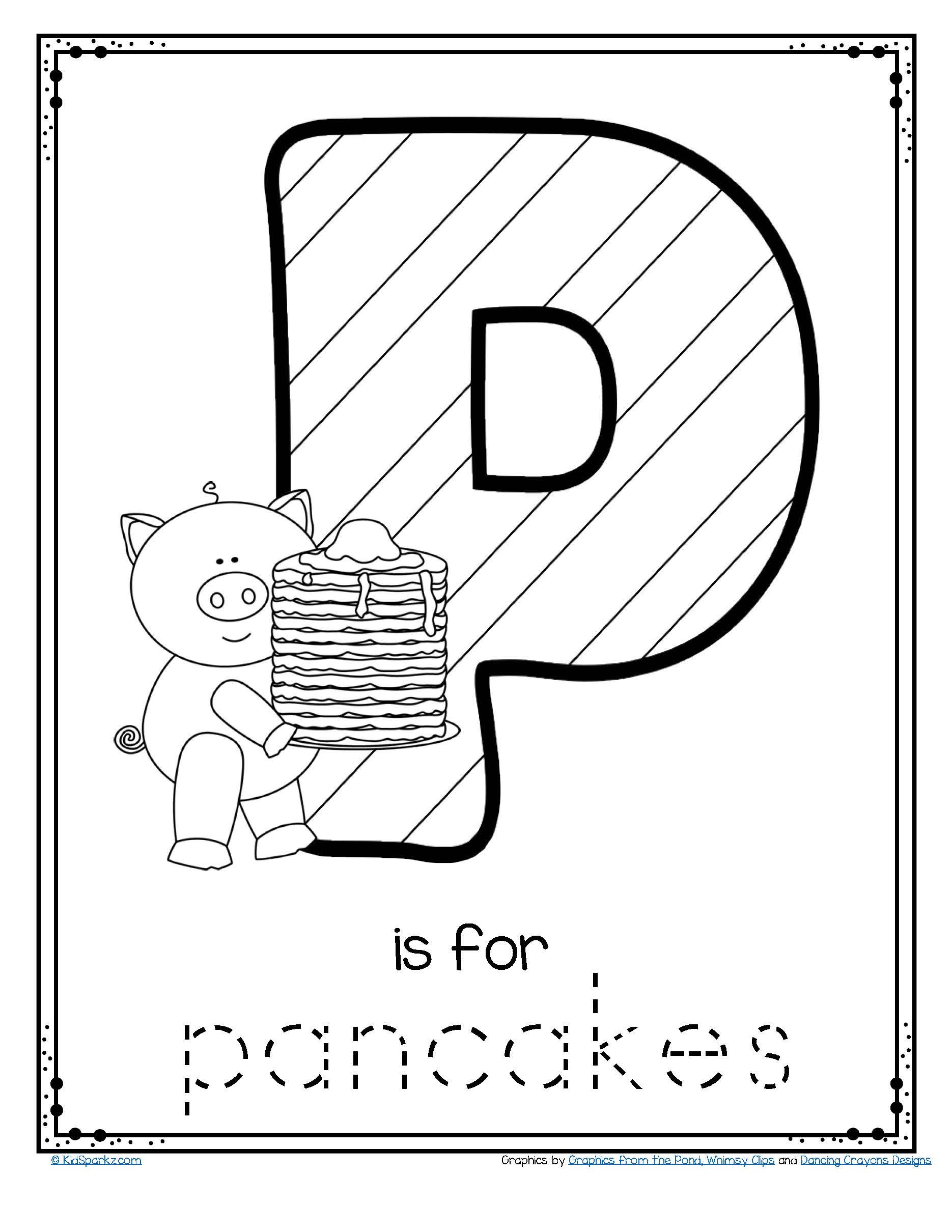 Pancake Day March 5th Free Letter P Trace And Color