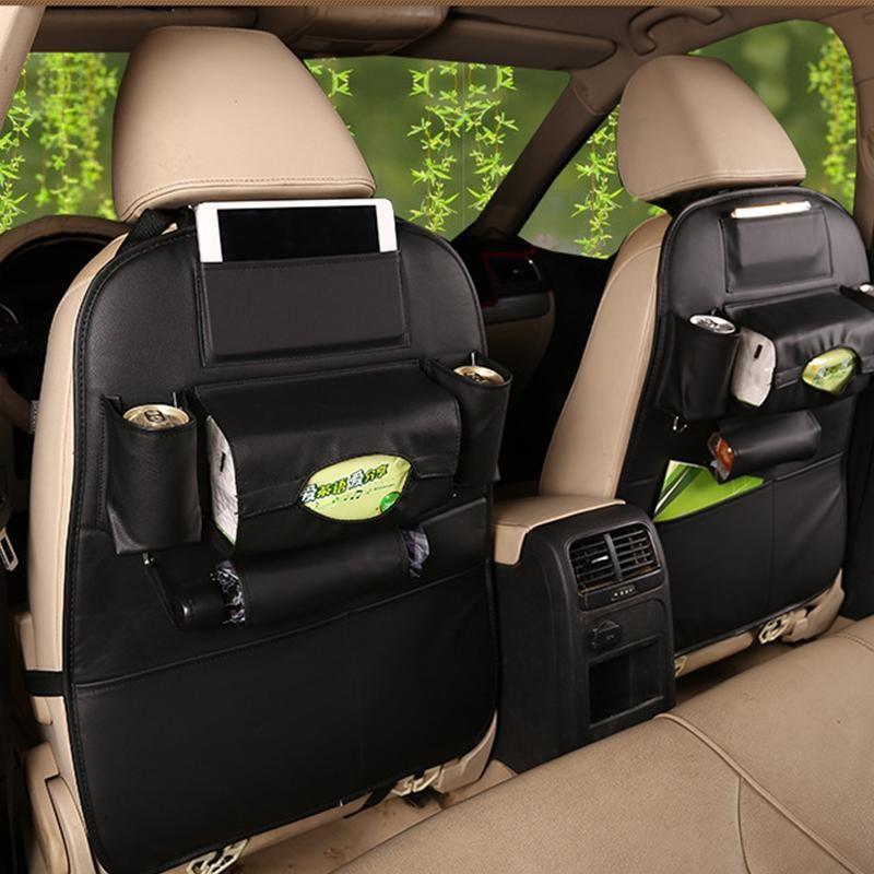Black Car Truck PU Leather Seat Back Organizer Cover Storage Holder Universal