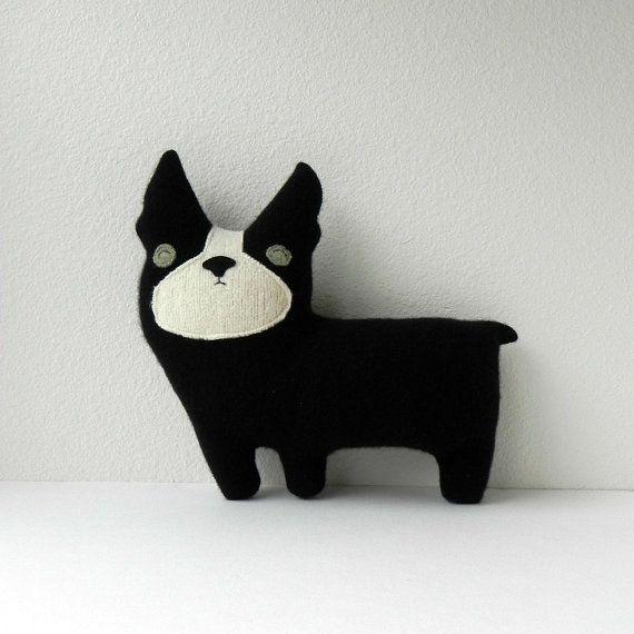 the Dog  Plush Wool Pillow by threebadseeds on Etsy