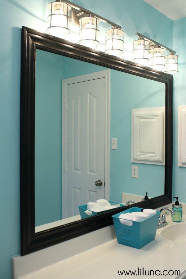Bathroom Framed Wall Decor: DIY Framed Mirror Tutorial For Under $30!! …
