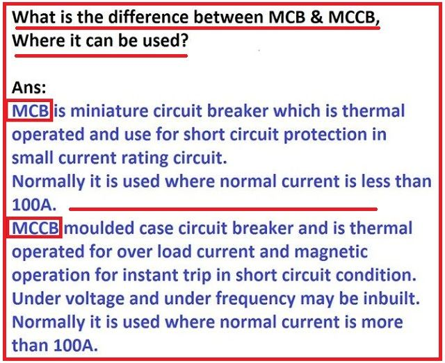 What is the Difference between MCB & MCCB? - EEE COMMUNITY