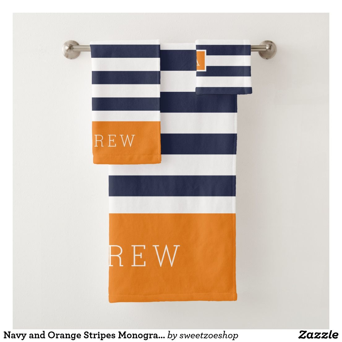 Navy And Orange Stripes Monogram Editable Colors Bath Towel Set