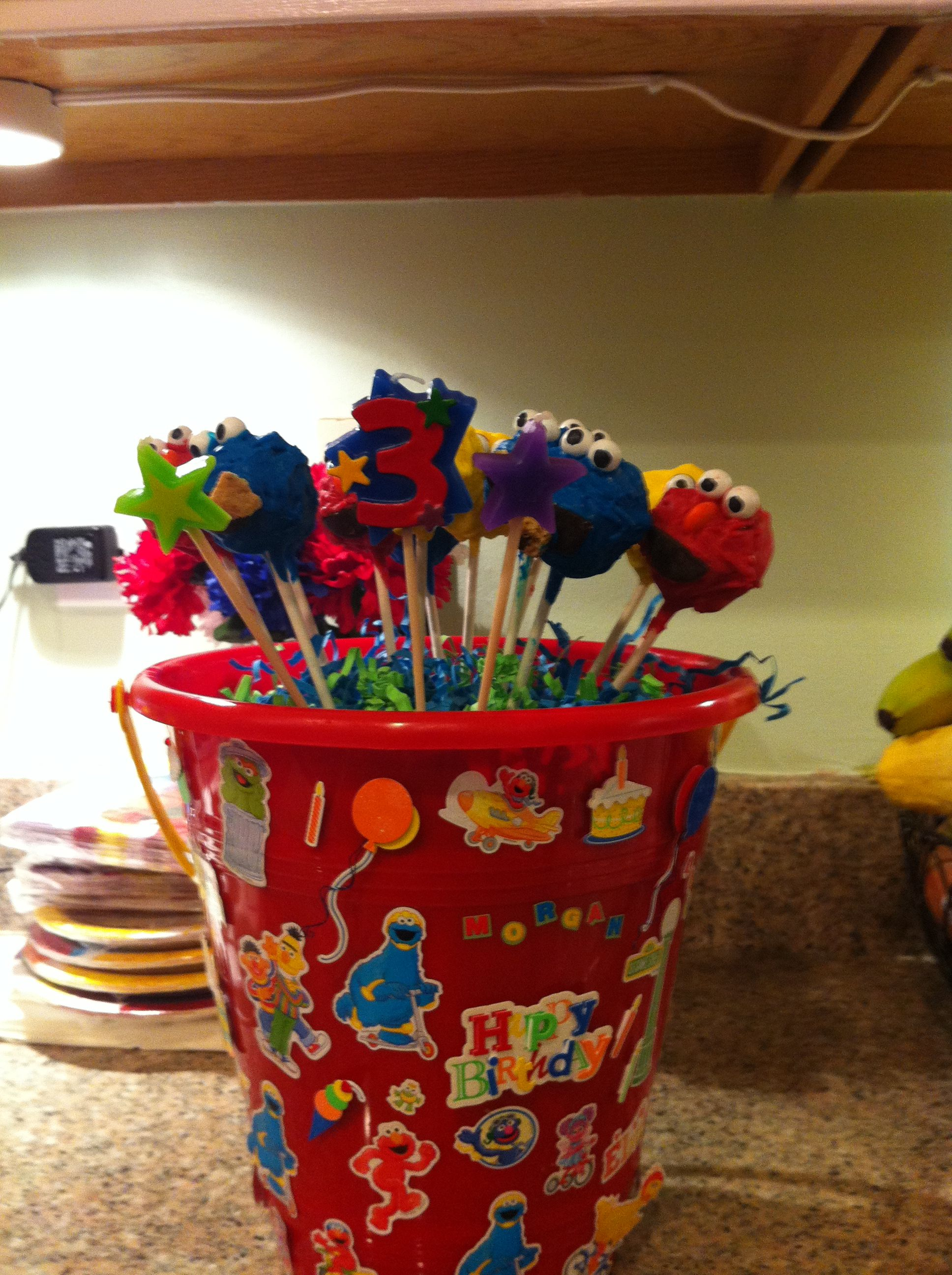 Sesame street cake pops i made for my daughters 3rd