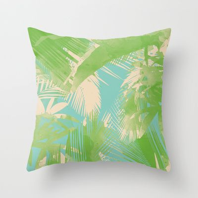 Tropical  turquoise Throw Pillow by Grace  - $20.00