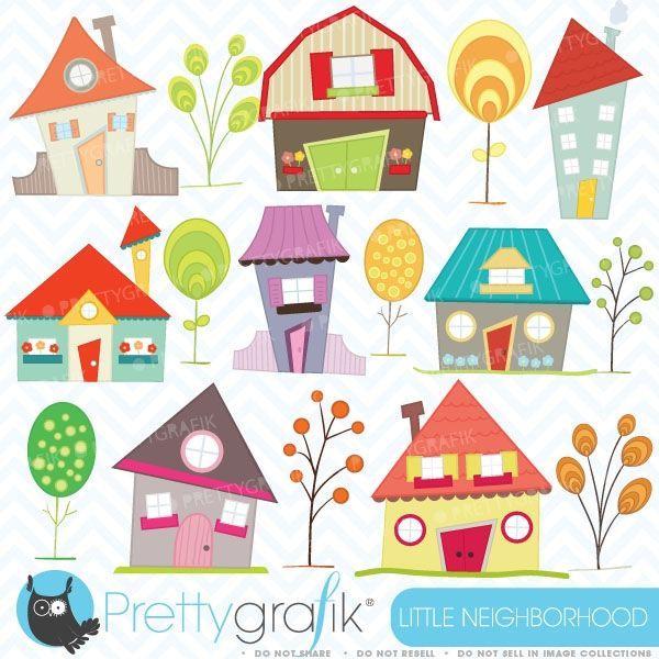 House clipart: 16 little neighborhood houses and tree clip ...
