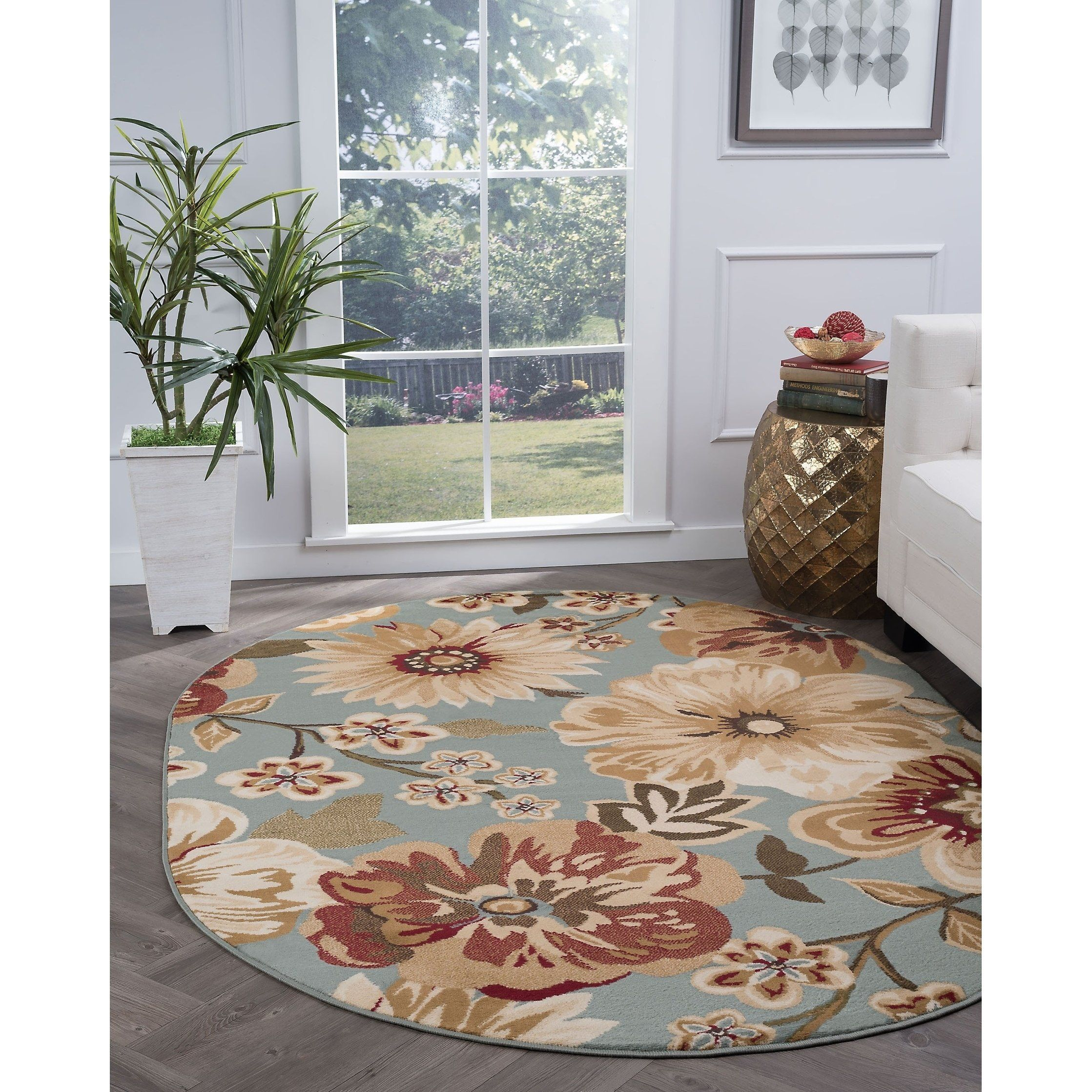 Alise Rugs Lagoon Transitional Floral Oval Area Rug 5 3 X 7 3 Blue 5 3 X 7 3 Moderate Traffic Oval Area Rug Area Rugs Transitional Area Rugs