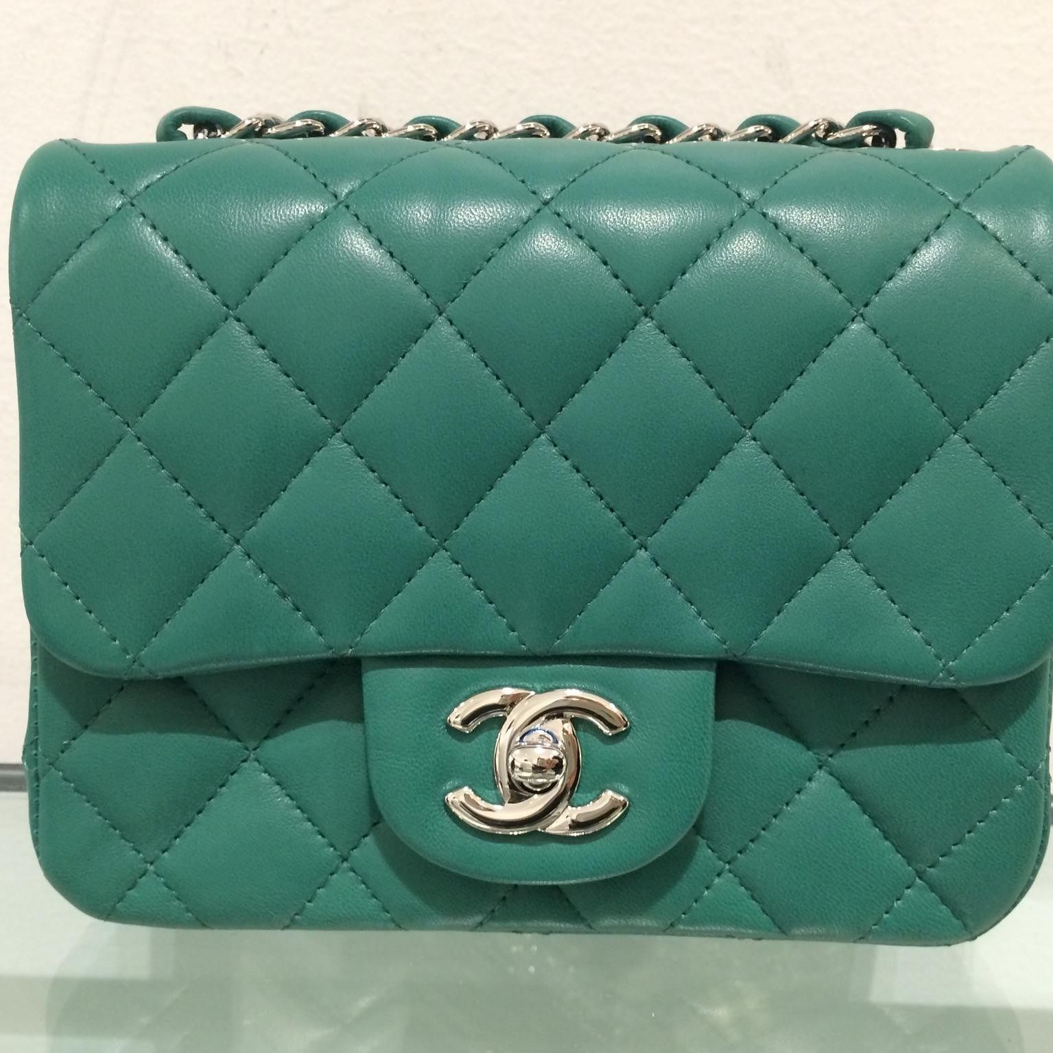 cd83e53515b8 Chanel Green Lambskin Classic Square Mini from Spring 2016 Collection