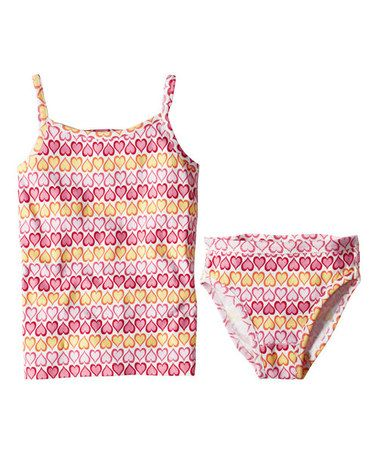 Look what I found on #zulily! Pink Heart Floral Organic Camisole & Underwear - Toddler & Girls #zulilyfinds
