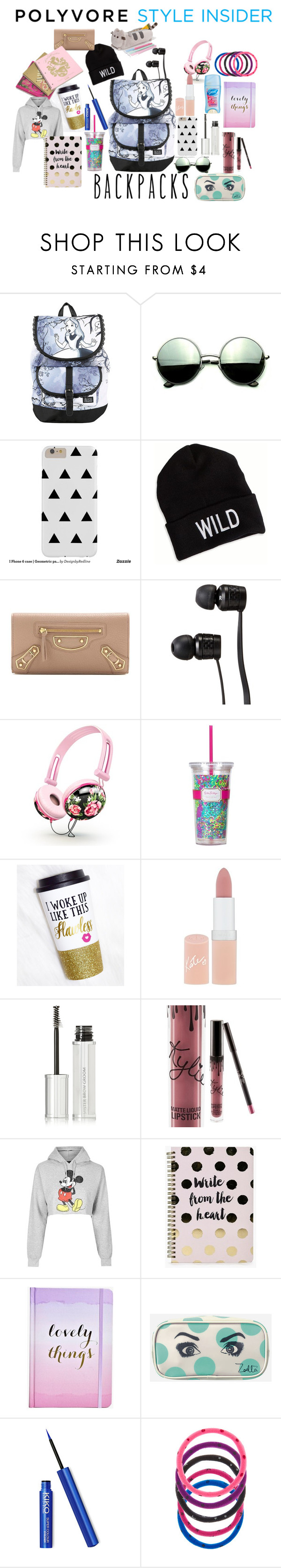 """Backpacks"" by lilylacie ❤ liked on Polyvore featuring Disney, Revo, American Eagle Outfitters, Balenciaga, Vans, Lilly Pulitzer, Rimmel, Givenchy, Kylie Cosmetics and Juicy Couture"