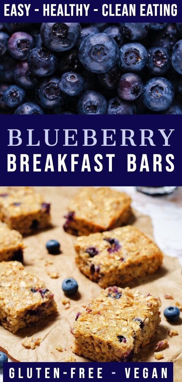 Clean Eating Blueberry Oatmeal Breakfast Bars Gluten Free Vegan Recipe In 2020 Oatmeal Breakfast Bars Gluten Free Breakfast Bars Breakfast Bars Recipe