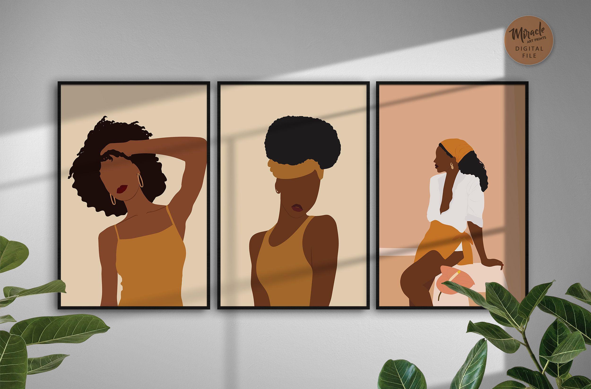 Black Woman Art Set Of 3 Black Women Gallery Wall Set Of 3 African American Prints Art Set Black Women Art Boho Wall Art