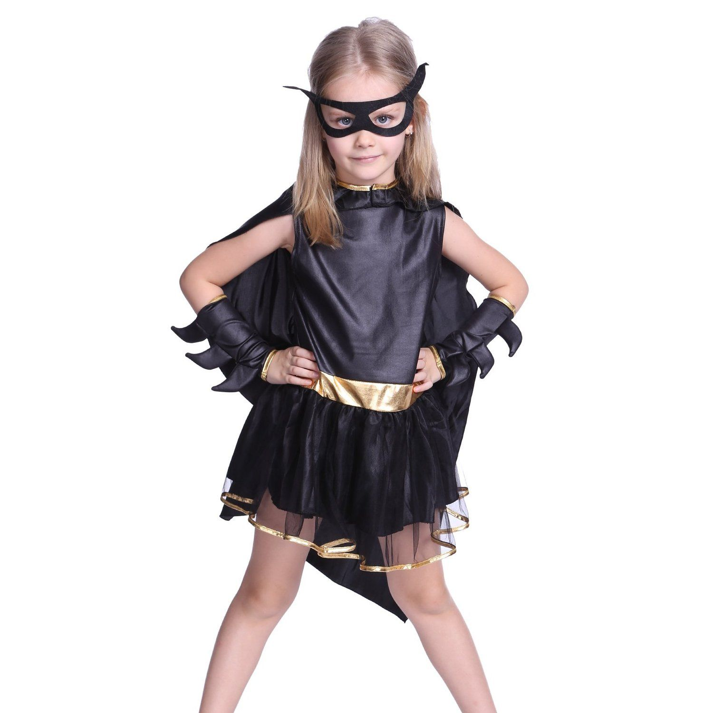 Quatang Gallery- Deguisement Enfant Costume Fille Tenue Halloween Carnaval Super Heroine Batgirl Batman Cape Masque Serre Bras Vetement Enfant Costume Fille Deguisement Enfant