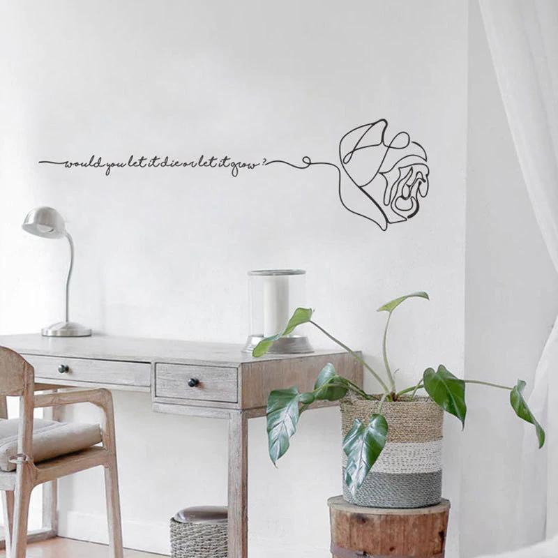 Cute Love Quotation Minimalist English Rose Wall Art Mural