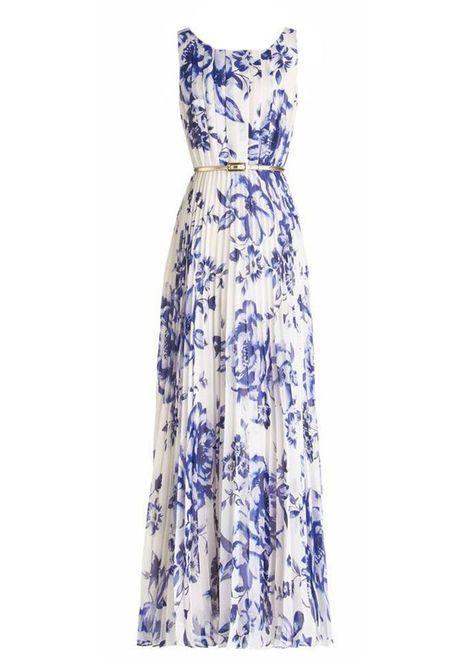 Blue Floral Print Ruffle Silver Belt Chiffon Casual Fashion Maxi ...