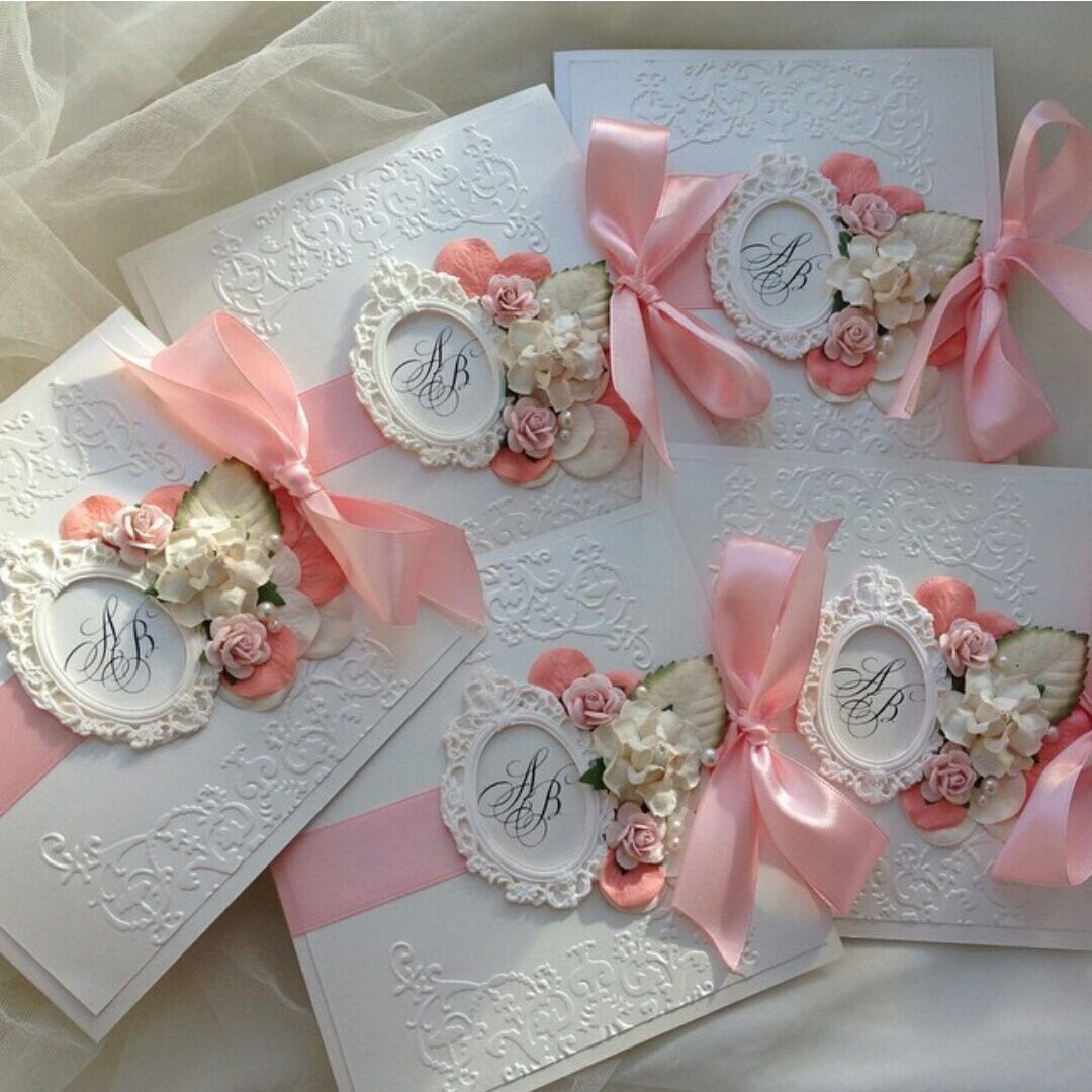 free online muslim wedding invitation cards%0A Oman Style Paper Flower Decorated Blank Printable Wedding Invitations with  Blush Pink Ribbon