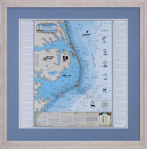 Driftwood Framed Shipwrecks of New Jersey Chart Map Nautical Print