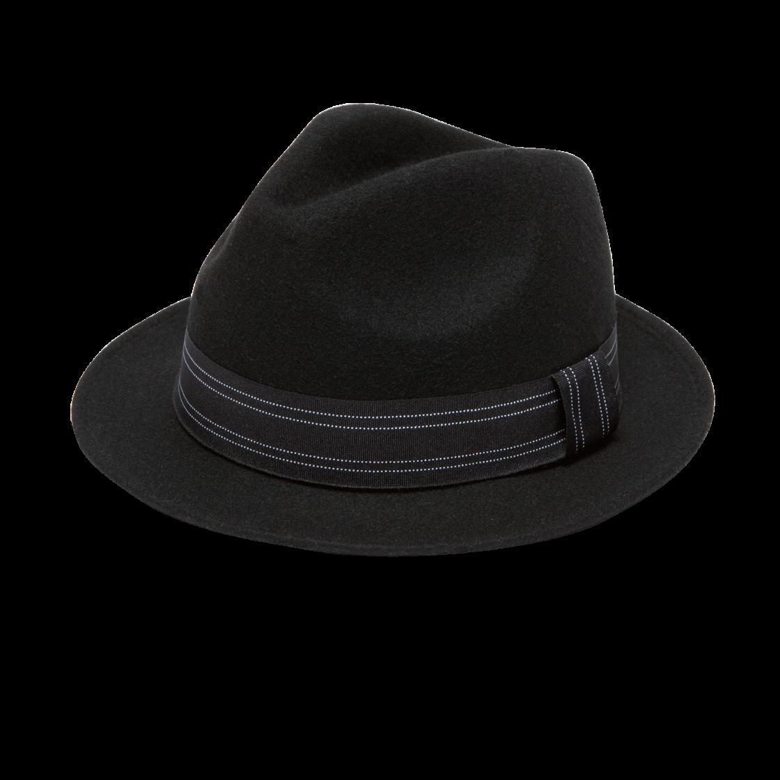 Rancher Felt Fedora Hat Black Left Side