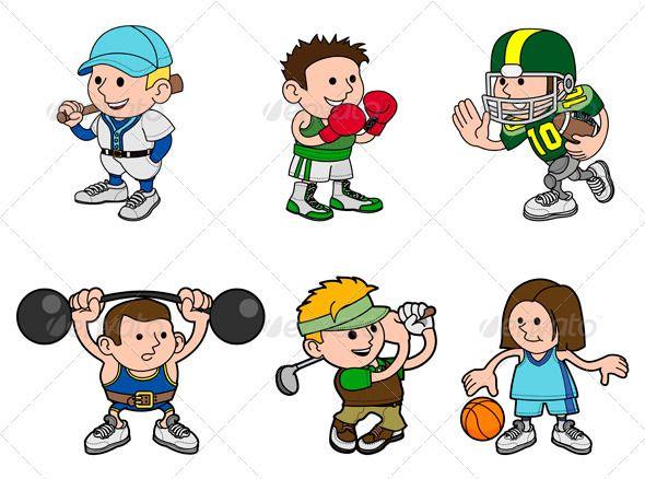 Cartoon Sports Characters Kids Sports Crafts Cartoon Clip Art Cartoon
